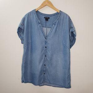 Lucky Brand Soft Blue Denim Women Shirt Size L